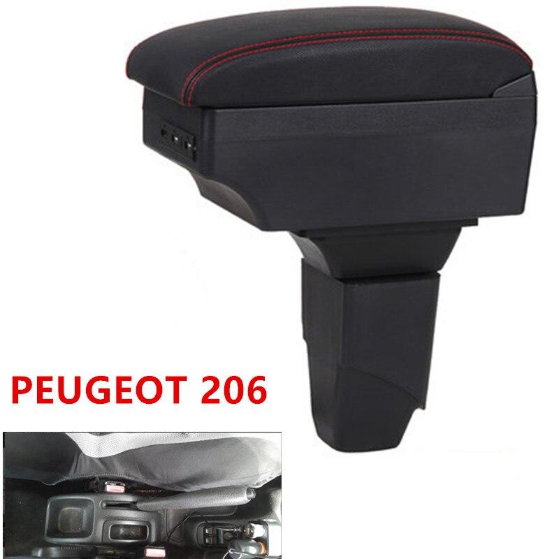 Para peugeot 206 caixa de apoio de braço loja central caixa de conteúdo carro-estilo de armazenamento center console produtos acessórios interiores