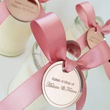 100* персонализированные Выгравированные пары имя круглое золото зеркало монета стол центральный конфетти декорация тег для свадьбы и помолвки