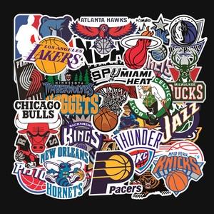 Image 1 - 32 unids/set equipo de baloncesto logotipo estándar trolley caso pegatinas etiqueta engomada impermeable graffiti de Los Lakers guerreros toros