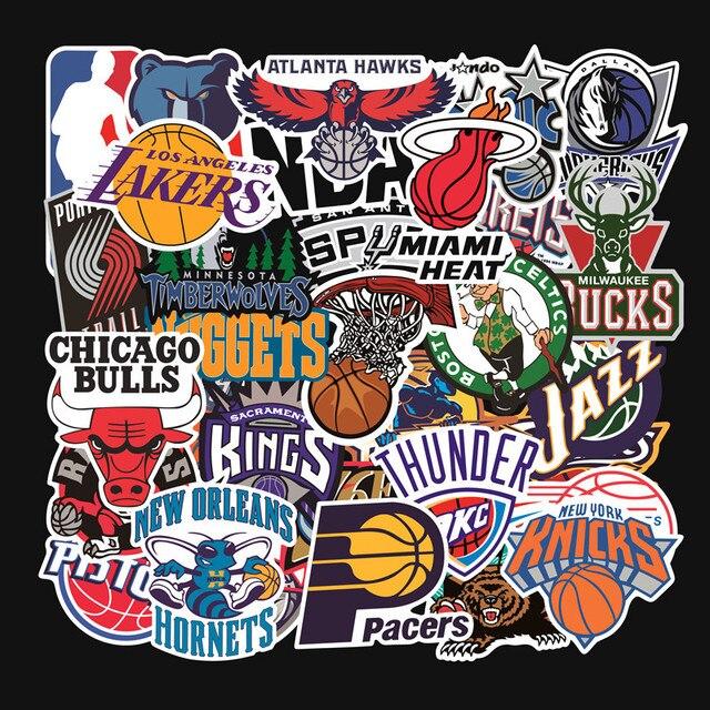 32 unids/set equipo de baloncesto logotipo estándar trolley caso pegatinas etiqueta engomada impermeable graffiti de Los Lakers guerreros toros