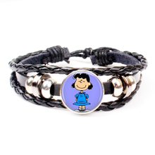 Hot Cute Cartoon Linus Woven Leather Bracelet Peanut Jewelry Fashion Crystal Party Holiday Souvenir Gift Charm Handmade