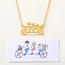 Hand Painted Drawn Pattern Custom Necklaces For Women Children Gold Silver Stainless Steel Long Chain Pendant Necklace Jewelry
