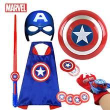 Os vingadores capitão américa traje criança cosplay super herói halloween role play led escudo máscara espada lançador brinquedos para crianças