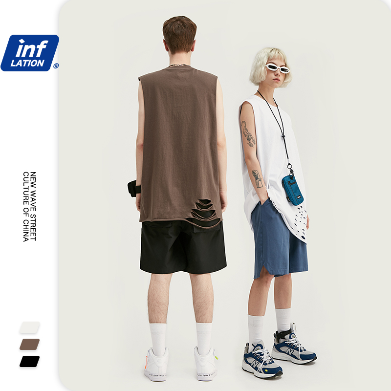 INFLATION Summer Simple Sleeveless T-shirt Men Casual Cotton  Men Tops Tees Hip Hop Bottoming Shirt Vest Solid Tshirt 1004S20