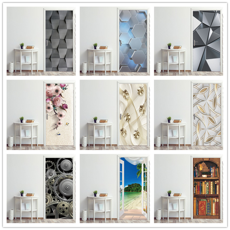 Decorative Wall Papers For The Door Stickers Geometry Design Waterproof Vinyl Self Stick DIY 3D View Door Posters For Bathroom