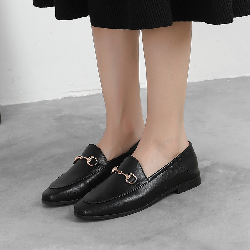 932655 Brand Flats Shoes Women Loafers Metal Decoration Fashion Ladies Loafers Genuine Leather Women Shoes Spring Autumn