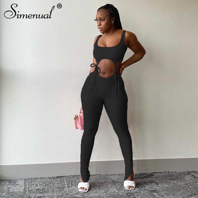 Simenual bandaj spor moda kadınlar eşleştirme setleri kolsuz katı sportif egzersiz iki parçalı kıyafetler sıska üst ve pantolon seti