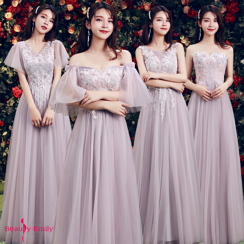 Beauty Emily Strapless Lace Appliques Beads Bridesmaid Dresses 2019 Pleated Chiffon Wedding Party Dress Vestido De Dama De Honor