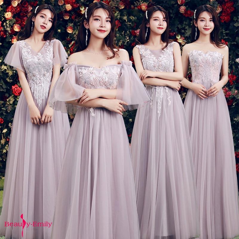 Beauty Emily Strapless Lace Appliques Beads Bridesmaid Dresses 2019 Pleated Chiffon Wedding Party Dress Vestido De Dama De Honor