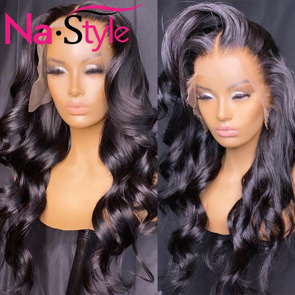 Парик из человеческих волос с волнистой передней частью, 13x4, парик на сетке спереди, выщипанный детскими волосами, 150% Реми, бразильские воло...