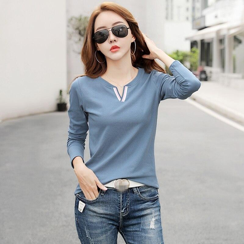 Large Size 2020 Spring New Model Women's Clothing V-neck Long-Sleeved T-shirt Female Slim Style Korean Bottoming Shirt AE0034