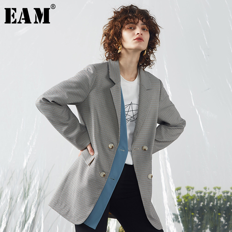 [EAM]  Women Plaid Split Joint Big Size Blazer New Lapel Long Sleeve Loose Fit  Jacket Fashion Tide Spring Autumn 2020 1R542
