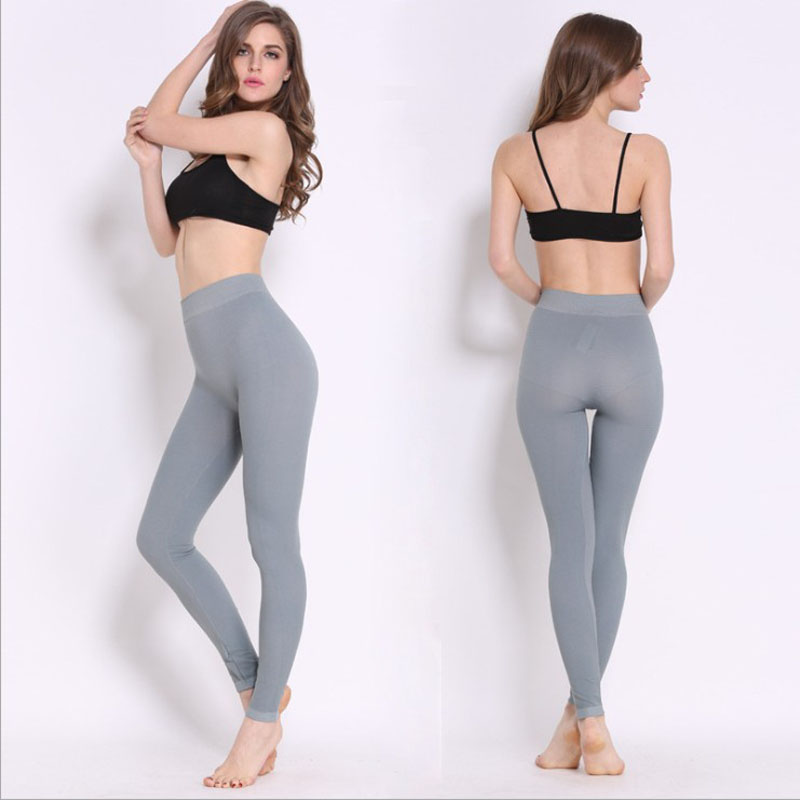 Women Fashion Clothes   Legging   Grey Color Solid Ladies Casual   leggings   Slim High Waist   Leggings   Woman Skinny Pants