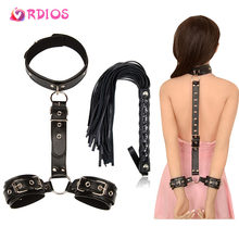 VRDIOS Erotic Sex Toys For Couples Woman Sexy BDSM Bondage Handcuffs Neck Collar Whip For Adult Toys Slave Sex Accessories