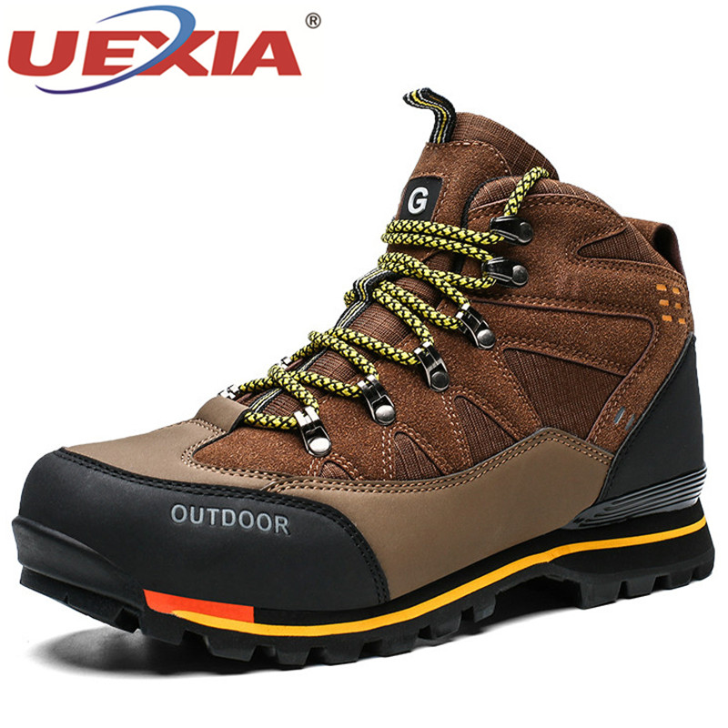 UEXIA Fashion Men Leather Boots Non-slip Leather Sneakers Outdoor Autumn Durable Male Shoes Sport Moccasins Footwear Big Size 47