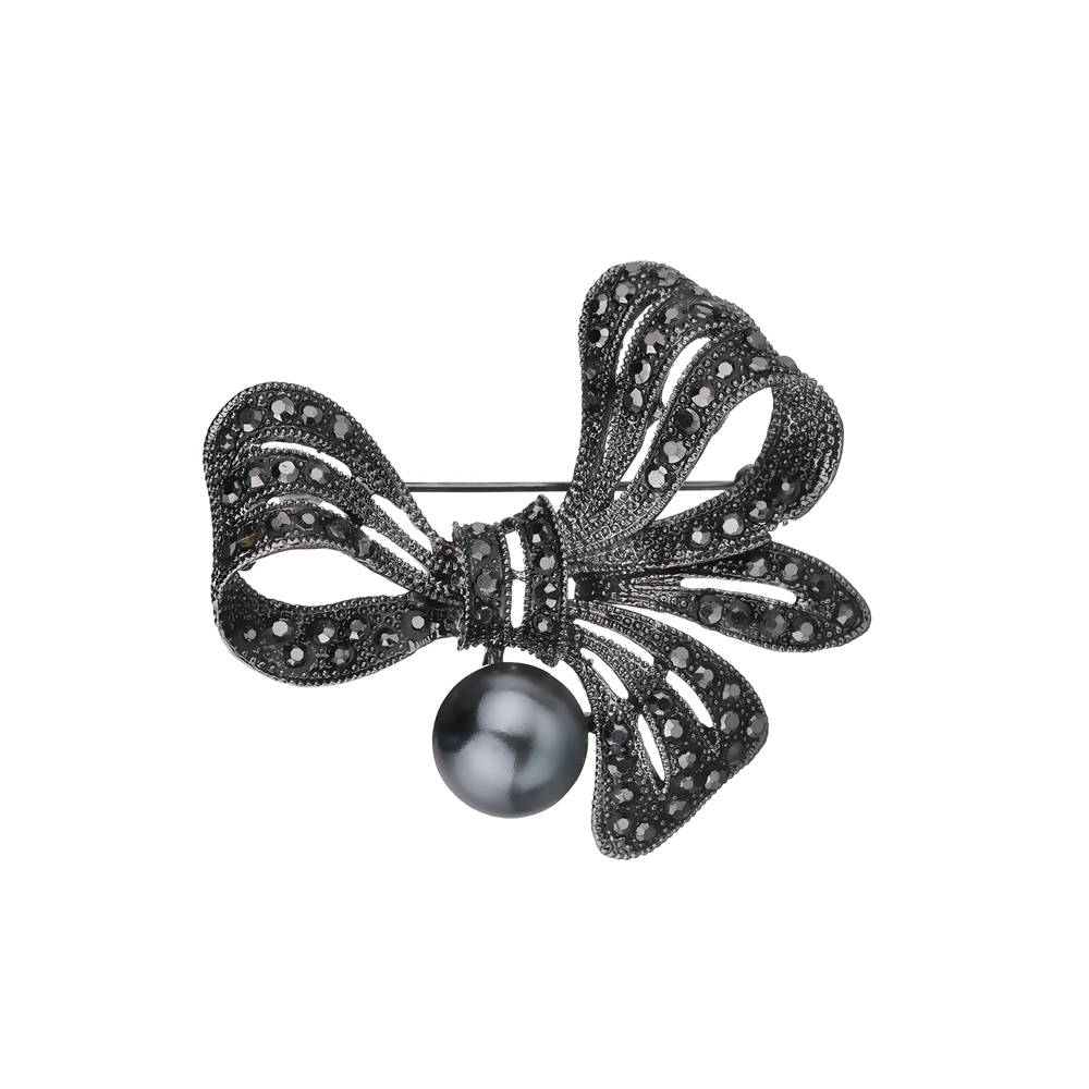 Gariton Vintage Rhinestone Bow Brooches for Women Black Bowknot Brooch Pin Fashion Jewelry Coat Accessories Elegant Style in Brooches from Jewelry Accessories