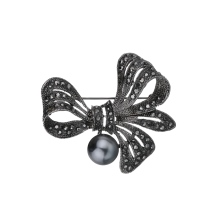 Gariton Vintage Rhinestone Bow Brooches for Women Black Bowknot Brooch Pin Fashion Jewelry Coat Accessories Elegant Style
