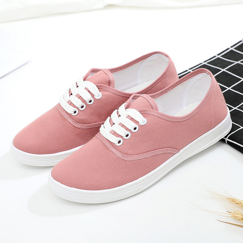 2020 Autumn Loafers Canvas Shoe Sneakers for Women Shoes Breathable Women's Casual Shoes Lace Up Solid Color Woman Shoes 35-41