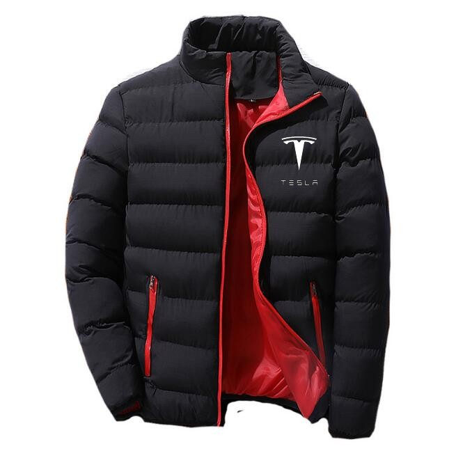 Men Parka Cotton Padded Tesla Car Logo Print Winter Warm Jackets Male Solid Color Stand Collar Zipper Thick Coats Down Parkas