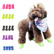 2 Pairs Waterproof Rain Pet Rubber Boots Durable Anti-slip Outdoor shoes Dog Shoes Candy Color For Small Dogs Puppy Corgi