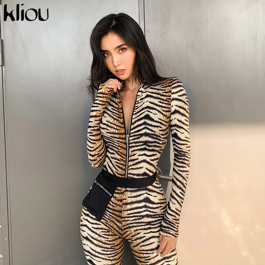 Kliou Tiger Pattern Print Cotton Bodycon Long Sleeve Zipper Design Jumpsuits 2019 Skinny Sexy Club Outfit Overalls Rompers Mujer
