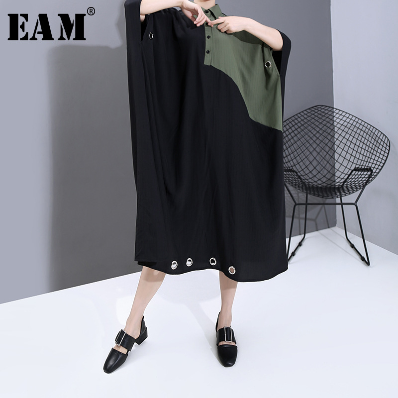 [EAM] Women Contrast Color Split Big Size Shirt Dress New Lapel Three-quarter Sleeve Loose Fit Fashion Spring Summer 2020 1T966