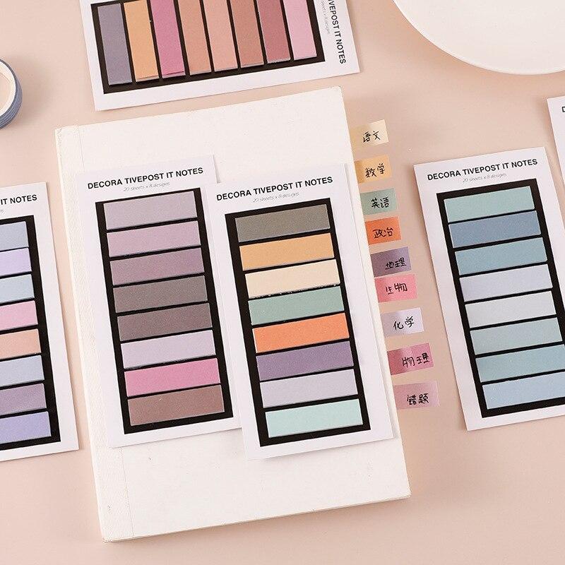 160 страниц Kawaii градиент липкий блокнот для заметок однотонные Цвет индекс Стикеры Закладка для книги страница Канцтовары планировщик для офиса и школы|Блокноты| | АлиЭкспресс