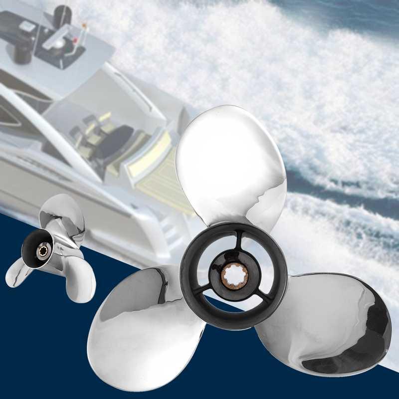 Thuyền Động Cơ Thép Không Gỉ Cánh Quạt 9 1/4X11-J Dành Cho Xe Yamaha 9.9Hp 15Hp Ngoài Động Cơ 9 1/4X11 J 63V-45943-10-00 63V-45943-00