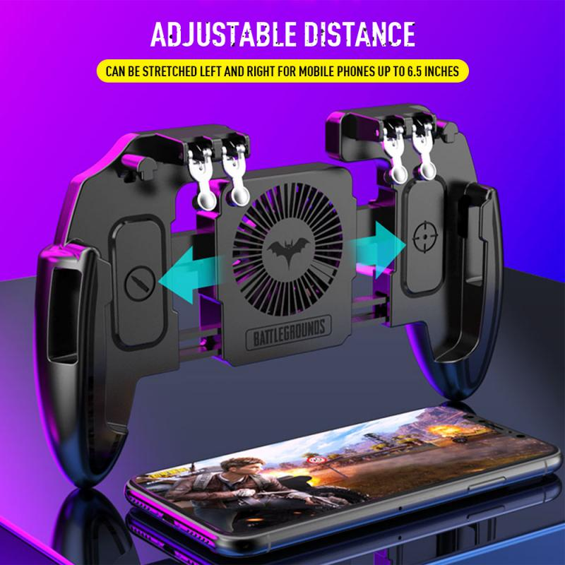 M11 Six Finger PUBG Game Controller Gamepad Trigger Shooting Free Fire Cooling Fan Gamepad Joystick for IOS Android Mobile Phone
