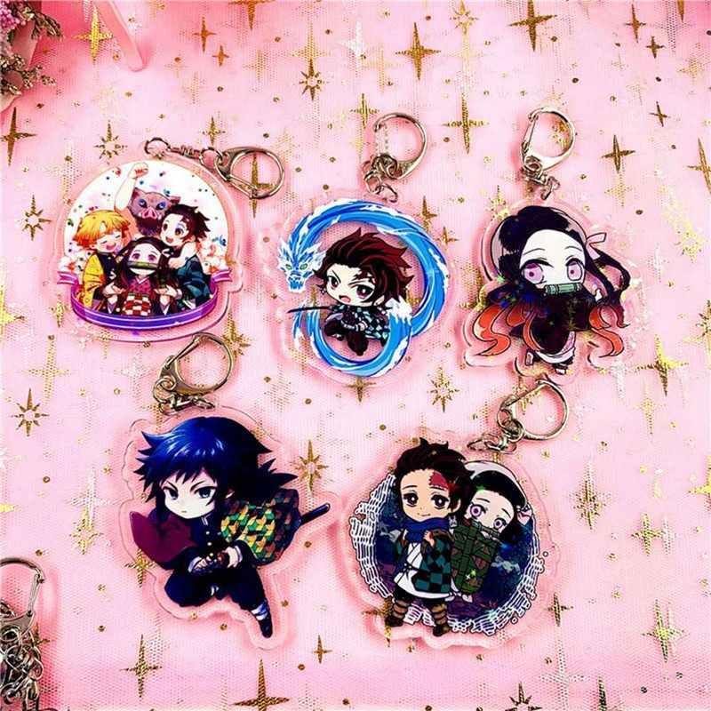 Anime Demon Slayer Móc Khóa Kamado Tanjirou Nezuko Agatsuma Zenitsu Rengoku Kyoujurou Dễ Thương Acrylic Móc Khóa Người Hâm Mộ Tặng