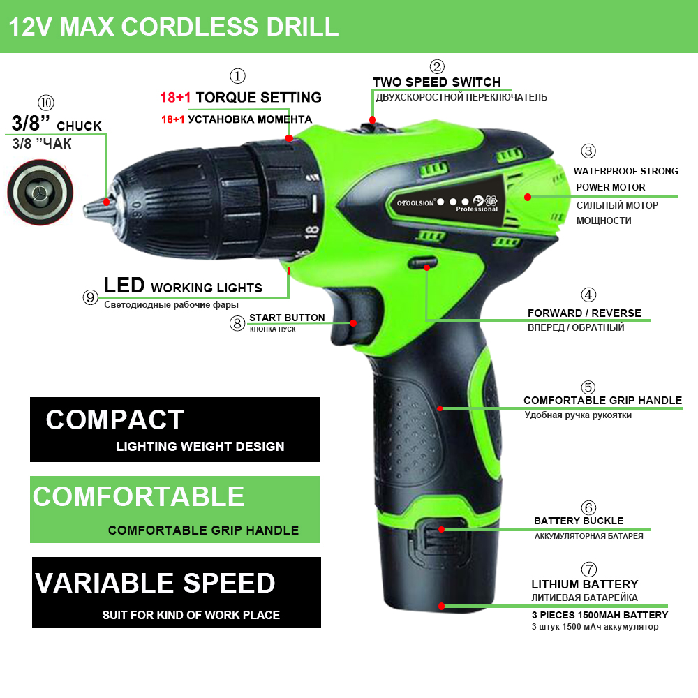12V 1500mah Small Drill Cordless Drill Power Tools Mini Electric Drill Charging Drill Screwdrivers With 2 Batteries For DIY Home (7)