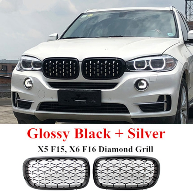 Diamond Style ABS Front Racing Grille For-BMW X5 X6 F15 F16 F85 F86 Silver+Black