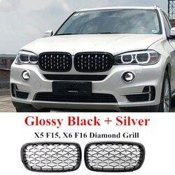 Estilo diamante ABS Frente Corrida Grille Para-BMW X5 X6 F15 F16 F85 F86 Prata + Preto