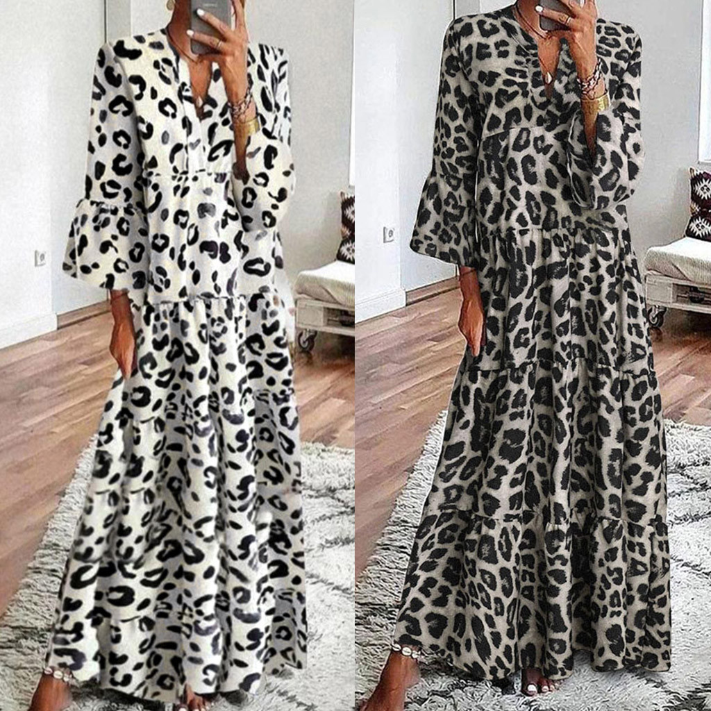 Hepburn Style Women Long Maxi Dress V Neck Leopard Print Flare Sleeve Summer Dress Ladies Vintage