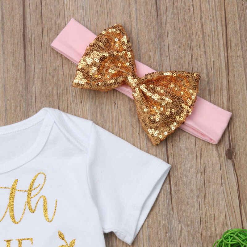 DEĞER BEKLEME Yenidoğan Bebek Kız Giysileri Romper Tops Pantolon Kafa Bandı Çocuklar Kıyafet Takım Elbise Setleri Sevimli Yürümeye Başlayan Yaz günlük kıyafetler