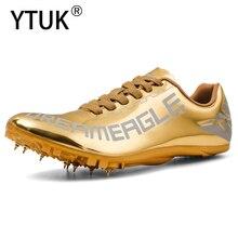 YTUK New Unisex Spike Running Shoe Golden Track Field Spike Shoe Non-SlipTracking Shoes Men Profession Women Sport Shoe