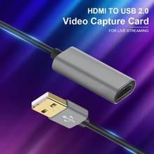 Placa de captura de vídeo hdmi para usb 2.0 cartão de captura de jogo 1080p para tv pc ps4 jogo fluxo ao vivo para windows lista/7/8/10
