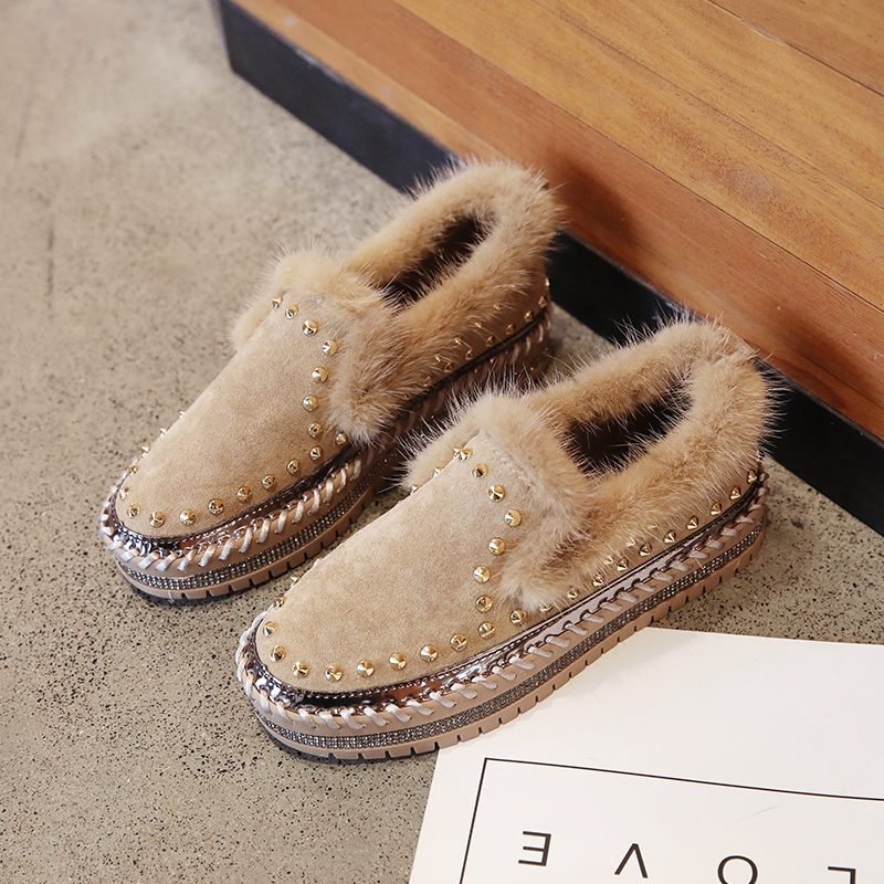 Lucyever 2020 New Spring Women Flat Shoes Fashion Real Fur Rivet Round-toe Casual Shoes Ladies Flats with Loafer Shoes Woman