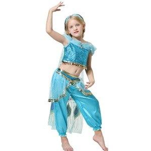 Image 5 - Mädchen Jasmin Kleid Up Kinder Halloween Weihnachten Prinzessin Jasmin Kostüme Für Kinder Party Bauchtanz Kleid Indische Disfraces