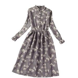 Image 5 - Corduroy High Elastic Waist Vintage Dress Autumn Winter Women Full Sleeve Floral Midi Dress Bodycon Party Sexy Vestido 25 Colors