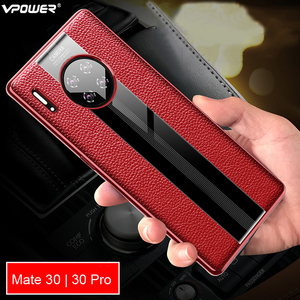 Image 1 - Luxury Genuine Leather Case For Huawei Mate 30 Pro Case Leather Shockproof Back Cover funda Mate30 Pro Protector Case