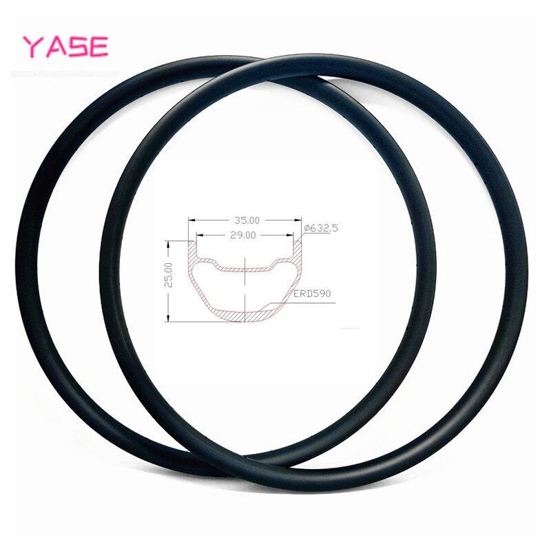 YASE 29er carbon mtb disc rim 35x25mm symmetry tubeless bicycle wheel carbon disc mtb rims ERD 590mm 400g