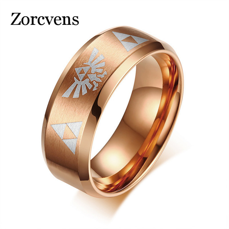 Modyle 2020 Men's Women's The <font><b>Legend</b></font> <font><b>Of</b></font> <font><b>Zelda</b></font> Triforce <font><b>Ring</b></font> stainless steel Steel Bezel Costume Bague Jewelry gift image