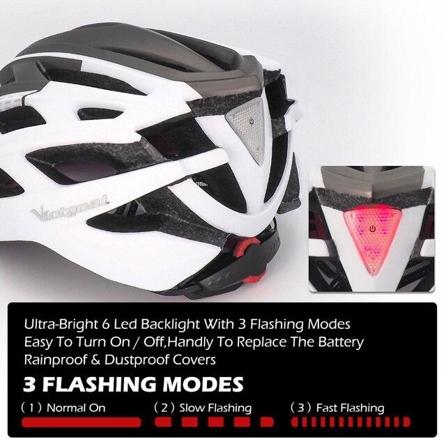 Victgoal capacete de bicicleta mountain bike, capacete de luz para ciclismo moldado integralmente à prova de vento com óculos de proteção 4