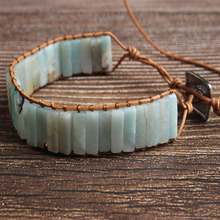 LanLi natural Jewelry cuboid  Amazon stone knit bracelet Men and women fashion Exquisite accessories amulet