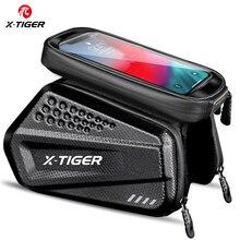 X TIGER防雨サイクリングバッグ耐震性反射自転車バッグフレームフロント電話ケースタッチスクリーンmtb自転車バッグアクセサリー