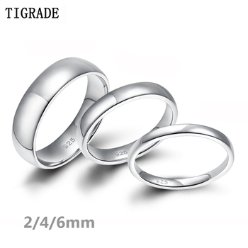 Tigrade 2/4/6mm Women Silver Ring High Polished Wedding Band 925 Sterling Silver Rings Simple Engagement Bague Female Jewelry 6mm 8mm carbon fiber inlay tungsten carbide ring men wedding band polished edges engagement rings for women fashion bague homme