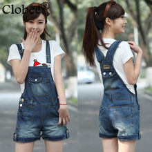 Women Denim Distresses Style Casual Jumpsuit Front Flap Pocket Short Overalls Girl Washed Jeans Jumpsuit Romper Plus size P149(China)