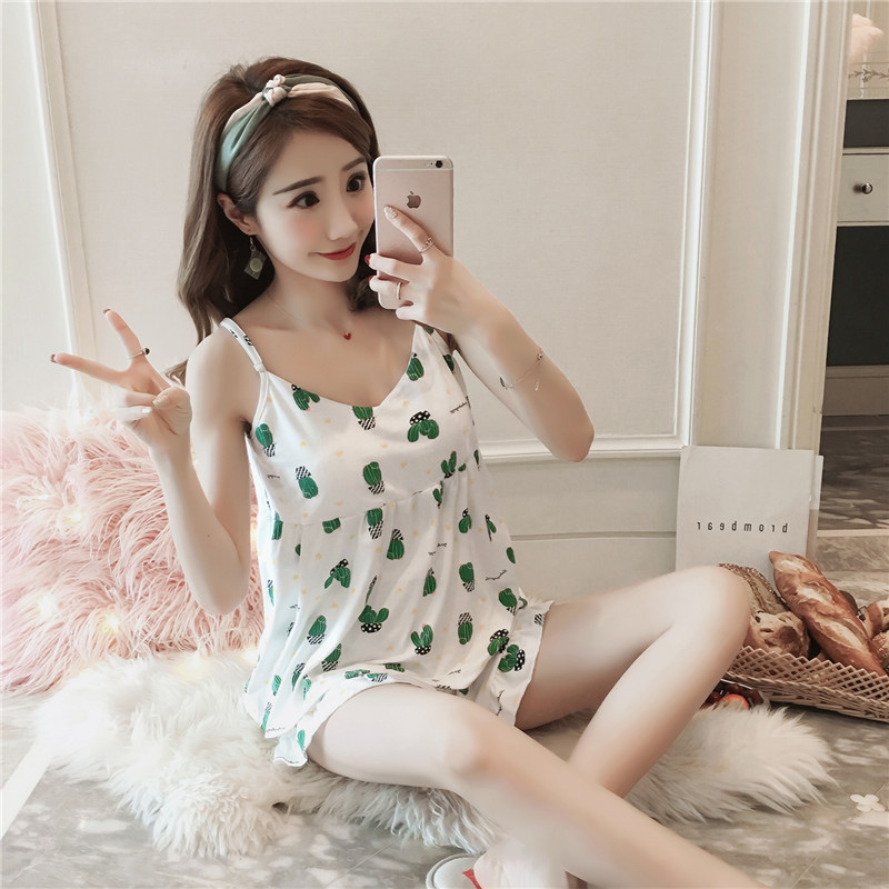 Pajamas Women's Summer Camisole Short Sleeve Two-Piece Set Korean-style Fresh Students Cute Cactus Chest Pad Home Wear