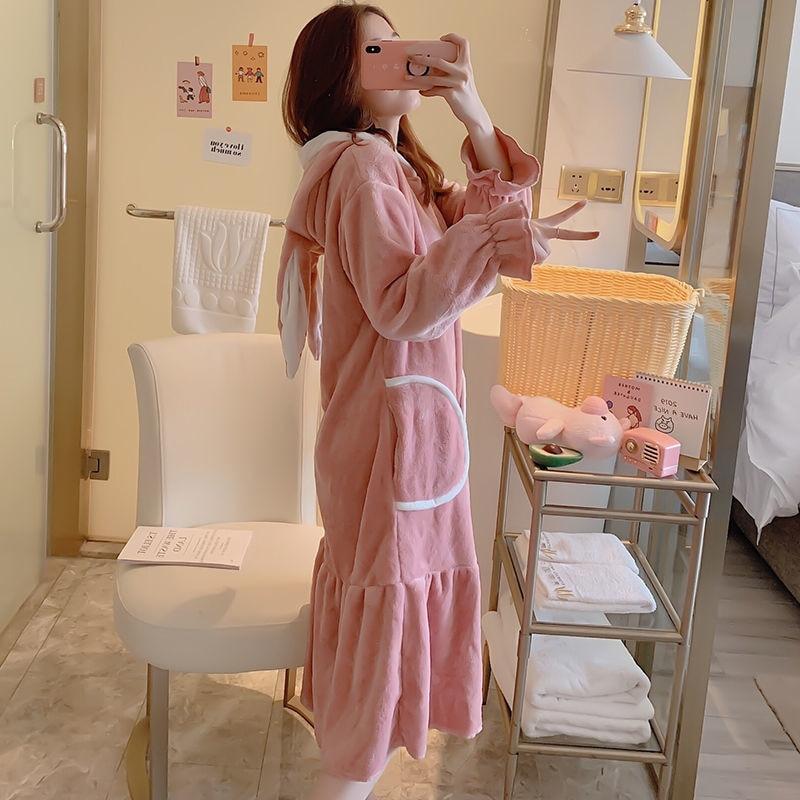 Winter Coral Fleece Nightgowns Sleepshirts Warm Hooded Nightdress With Pockets Long Sleep Dress Loose Casual Nightwear XXL Pink 1